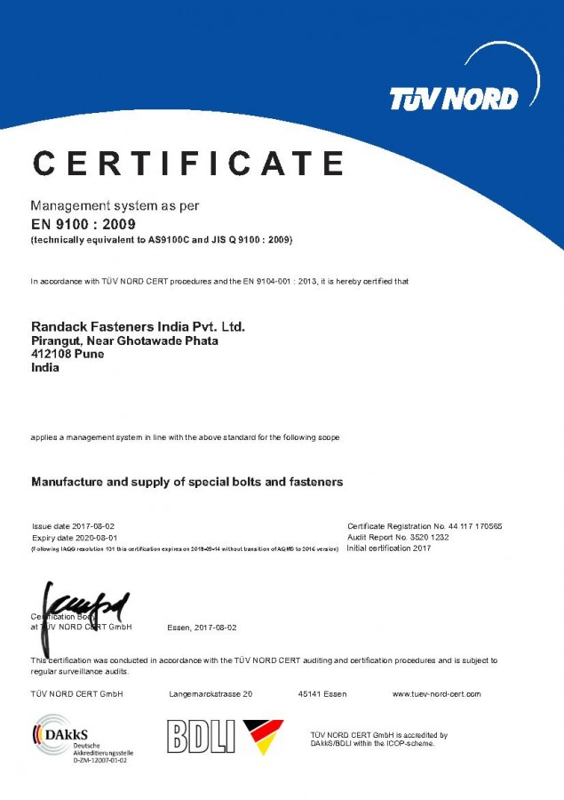 Randack Fasteners India successfully completed Aerospace AS9100C Certification.